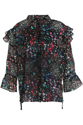 W118 by WALTER BAKER Ruffle-trimmed floral-print chiffon blouse