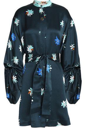 WOMAN SILK-JACQUARD MINI DRESS PETROL
