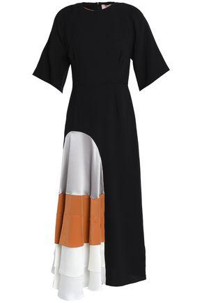 ROKSANDA Metallic cloqué and satin-paneled crepe midi dress