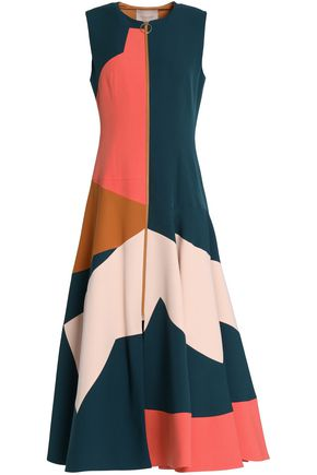 ROKSANDA Fluted color-block crepe midi dress