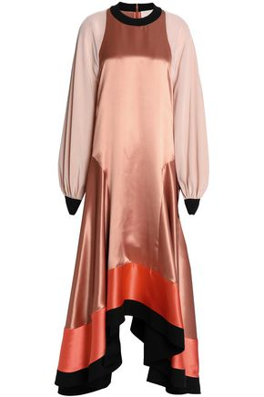 ROKSANDA Paneled silk-satin, crepe and cloqué midi dress