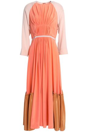 ROKSANDA Pleated color-block silk crepe de chine midi dress