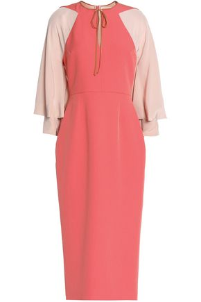 ROKSANDA Two-tone georgette-paneled crepe midi dress