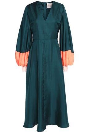 ROKSANDA Two-tone silk-twill midi dress
