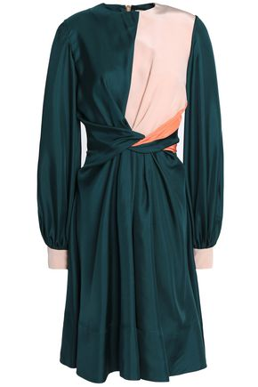 ROKSANDA Wrap-effect silk crepe de chine and twill dress