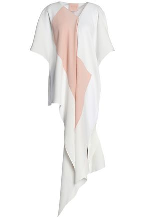 ROKSANDA Two-tone draped silk-blend crepe blouse