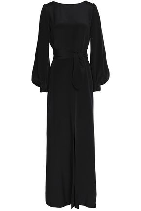 GOAT Belted silk-crepe gown