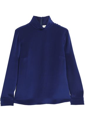 GOAT Silk-crepe turtleneck top