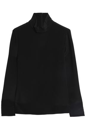 GOAT Washed-silk turtleneck top