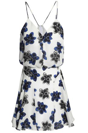 MILLY Floral-print silk-georgette mini dress