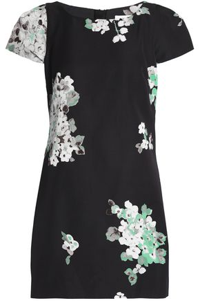 MILLY Floral-print cotton-blend faille mini dress