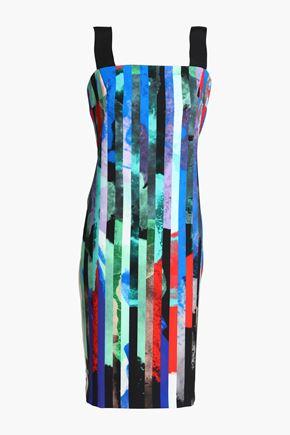 MILLY Grosgain-trimmed printed stretch-cady dress