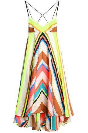 MILLY Asymmetric striped-jacquard midi dress