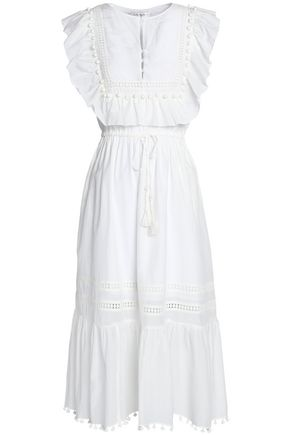 SEA Ruffle-trimmed embellished cotton and silk-blend midi dress
