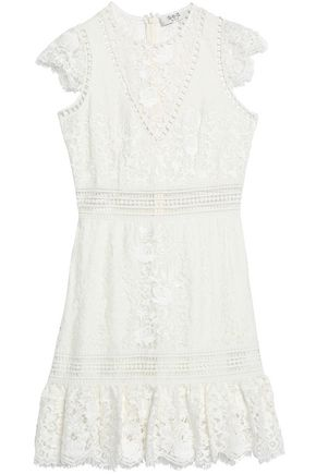SEA Ruffle-trimmed embroidered cotton-blend lace dress