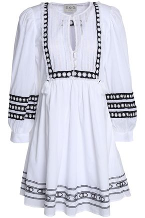 SEA Tasseled lace-trimmed embroidered cotton-gauze dress