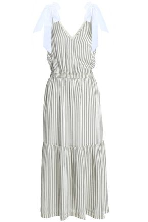 SEA Gathered striped cotton-poplin midi dress