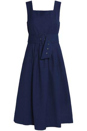 SEA Belted cotton-canvas midi dress