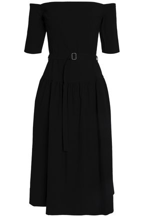 SEA Off-the-shoulder belted stretch-twill midi dress