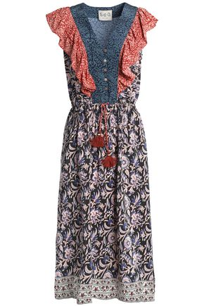 SEA Printed ruffle-trimmed tasseled silk dress