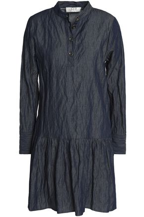 SEA Pleated cotton-blend chambray mini shirt dress