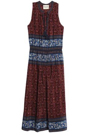 SEA Printed silk midi dress