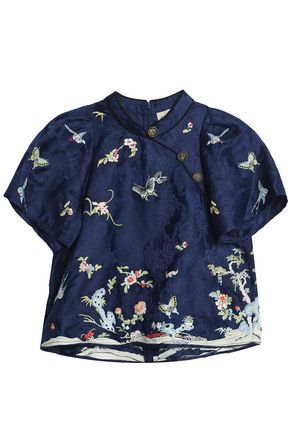 SEA Linen and silk-blend jacquard top