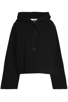 SEA Fil coupé-paneled cotton-terry hooded sweatshirt