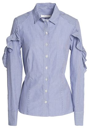 SEA Ruffled sriped cotton-poplin shirt