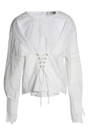 SEA Lace-up broderie anglaise cotton-poplin blouse