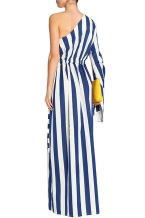 SOLACE LONDON One-shoulder striped cotton maxi dress