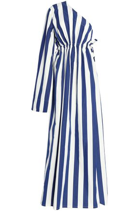 SOLACE LONDON One-shoulder striped cotton maxi dress