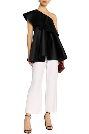SOLACE LONDON One-shoulder fluted satin top