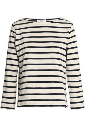 SEA Striped cotton-jersey top