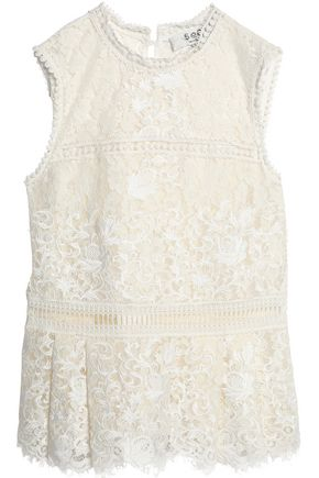 SEA Picot-trimmed cotton-blend lace top