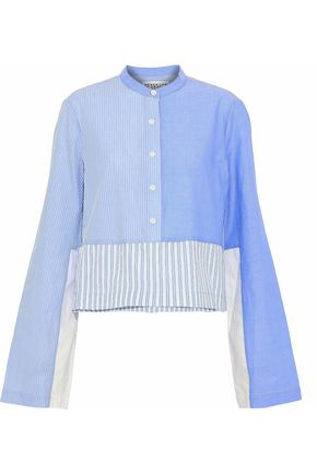 DEREK LAM 10 CROSBY Paneled striped cotton-poplin and chambray shirt