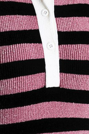 ALEXANDER WANG Metallic striped chenille polo shirt