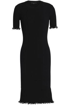 ALEXANDER WANG Ruffle-trimmed stretch-knit cotton-blend dress