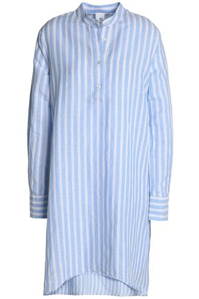 IRIS & INK Striped linen and cotton-blend mini shirt dress