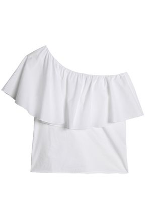 IRIS & INK Marley one-shoulder ruffled poplin top