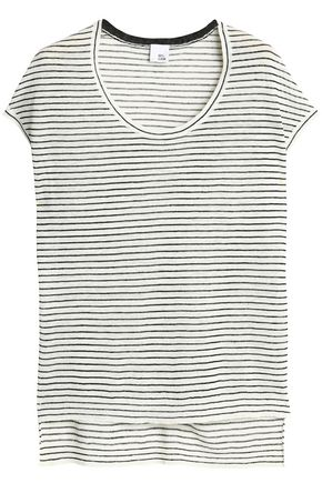 IRIS & INK Striped linen-blend top