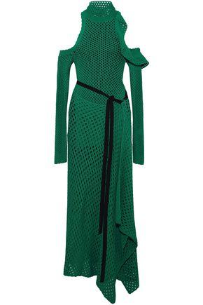 PROENZA SCHOULER Cold-shoulder silk crochet-knit maxi dress
