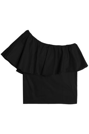 IRIS & INK One-shoulder ruffled cotton top