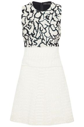 PROENZA SCHOULER Frayed embellished silk and layered bouclé mini dress