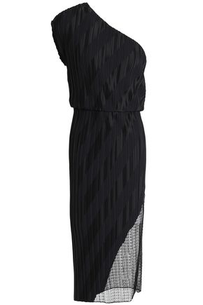 ALEXANDER WANG One-shoulder Swiss-dot tulle-paneled plissé satin-jacquard dress