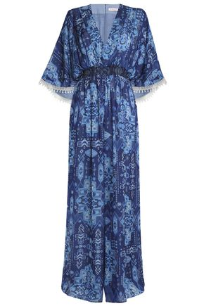 MATTHEW WILLIAMSON Smocked printed silk jumpsuit