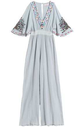 MATTHEW WILLIAMSON Embroidered shirred cotton-gauze jumpsuit