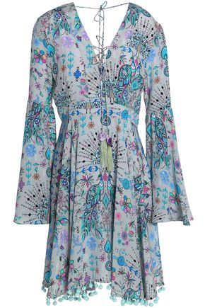 MATTHEW WILLIAMSON Lace-up pompom-trimmed printed silk crepe de chine dress