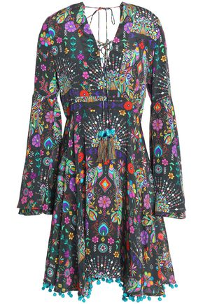 MATTHEW WILLIAMSON Lace-up pompom-trimmed printed silk crepe de chine dress