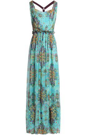 MATTHEW WILLIAMSON Open-back embellished printed silk-chiffon maxi dress